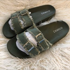 Shoes - NIKKI Distressed Olive Green Denim Slide Sandal 8